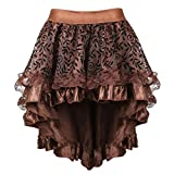 MOONIGHT Women's Steampunk Midi Skirt for Women Tulle Multi Layered High Low Outfits Party Steampunk Skirt Costumes Brown