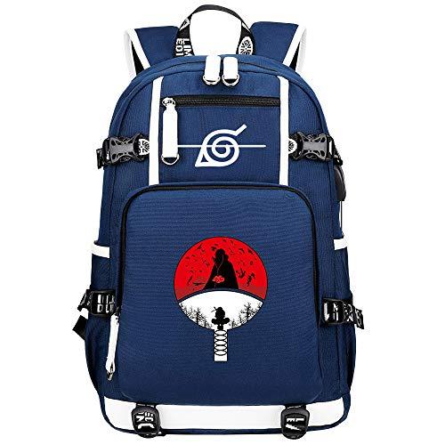 ZZGOO-LL Uzumaki Naruto/Sharingan/Uchiha Itachi USB Mochila Backpack Casual Impermeable Viaje de Negocios con Unisex-B