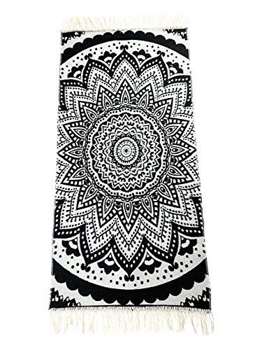 SOLTAKO Kelim Tappeto passatoia con frange e motivo retrò boho etnico chindi Motivo marocchino Berber lavabile, vintage, modello Bohemia nero/ecru , 200 x 100 cm