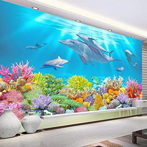 HJLXDP pegatinas de pared decorativas Vinilo autoadhesivo Submarino mundo delfines coral Decoración de arte de pared Pelar y pegar Adhesivo de pared Arte Murales Decoración para el hogar Decoración d