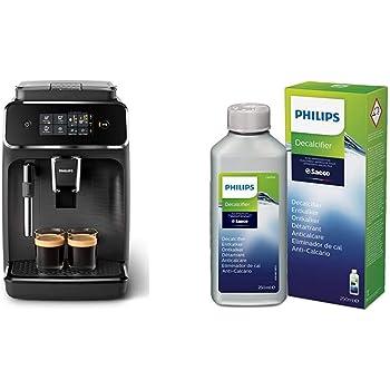 Philips EP2220/10 Cafetera superautomática, Acero Inoxidable, Negro Mate + CA6700/10 Descalcificador para Máquinas de Café Espresso Manuales y Automáticas, 0 W, 250 ml, 0 Decibelios, Plástico, Verde: Amazon.es: Hogar
