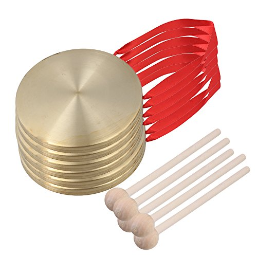 Yibuy 15cm Brass Percussion Instruments Hand Opera Gong Cymbals with Hammer Set of 5