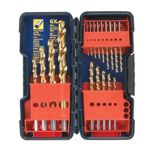 Bosch TI18 18-Piece Titanium Twist Drill Bit Set...