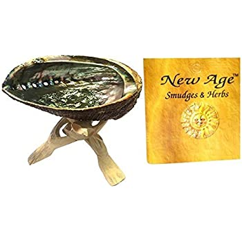 "New Age Smudges and Herbs Abalone Shell 5-6"" & 6"" Wooden Tripod"