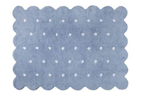 Lorena Canals C-77772 Alfombra para niños, 100% Algodón, Azul, 120x160 cm