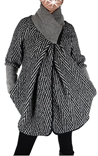 Italy Donna dames lagenlook wol poncho ballon jas blazer winter overgang trui gebreid vest 36 38 40 42 44 S M L XL zwart grijs kort mantel