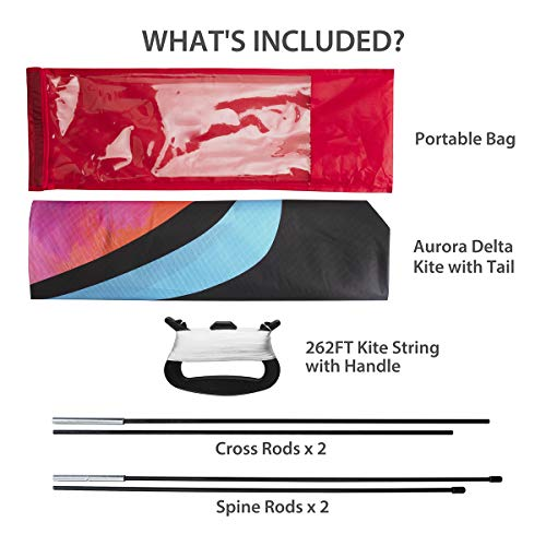 WISESTARカイト凧揚げ三角凧オーロラ79.8m凧糸とハンドル付きカラフルカイトスポーツカイトアウトドアおもちゃ立体タコ軽量収納バッグ付きお正月公園6歳以上の子供向け