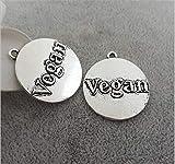 10 unids/lote 25 mm letra en relieve vegano disco redondo encanto vegano encantos colgante para la fabricación de joyas de bricolaje