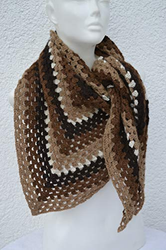 Dreieckstuch Granny Tuch Häkeltuch Schultertuch braun beige gestreift gehäkelt