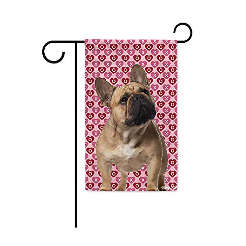 BAGEYOU Hugs and Kisses My Dog French Bulldog Valentine's Day Garden Flag Hearts Love XOXO Decor Home Banner for Outside 12.5X18 Inch Print Both Sides