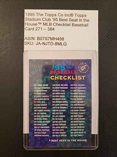 1995 The Topps Co Inc® Topps Stadium Club '95 Best Seat in the House™ MLB Checklist Baseball Card 271-384