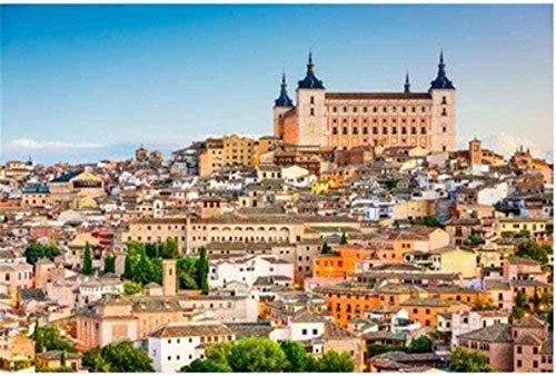Puzzle de 1000 Piezas de Rompecabezas de Madera Rompecabezas Toledo España Castillo Casco Antiguo Vista de la Ciudad Amigos Familia Niños Regalo de cumpleaños