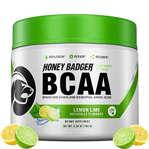 Honey Badger Vegan Keto BCAA - EAA Electrolyte Powder | Lemon Lime | Natural Gluten Free Amino Acids Essential Aminos Sugar Free + Sucralose Free | 30