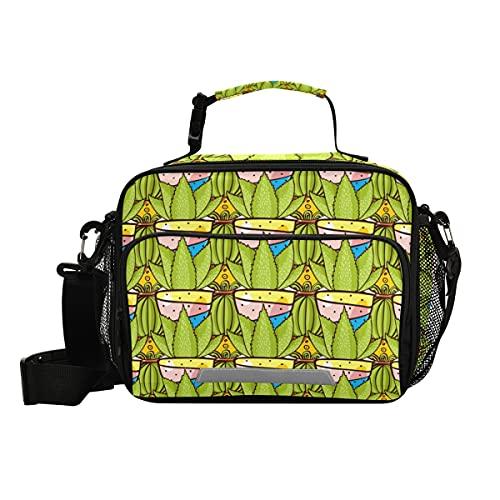Cactus Succulents Art - Bolsa de almuerzo aislada con correa ajustable para el hombro, loncheras para picnic y nevera para niños y niñas
