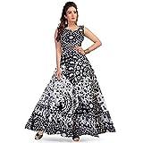 Rangun Women's Maxi Dress (DRESS_1001_B/W_Black, White_Free Size)