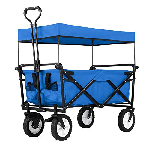 GARTIO Collapsible Folding Utility Wagon, Heavy Duty Portable Canopy Cart with Adjustable Handle 8''Rubber Wide Brake Wheel, 2 Drink Holder, for Outdoor Garden Beach Camping Shopping Sport Park (Blue)