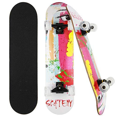 CLYCTIP Skateboard Komplett Board 79x20cm Holzboard ABEC-7 Kugellager 31 Zoll 7-lagigem Ahornholz, 85A Blinkende Rollen für Anfänger Kinder Jugendliche und Erwachsene (Auge)