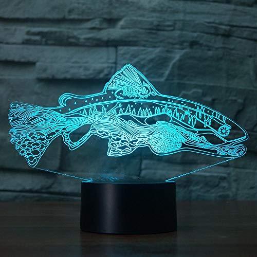 3D-Illusionslicht Led-Nachtlicht 7 Farbe Fisch Hape Pirit Tier Usb Touch Tischlampe Home Schlafzimmer Party Dekoration Kinder Geschenk