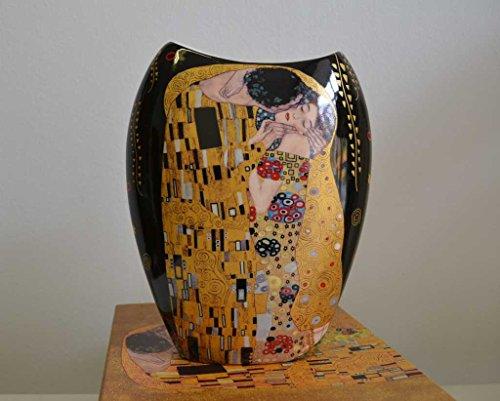 """Atelier Harmony, vaso in porcellana con motivo """"Il bacio"""" di Gustav Klimt nero/oro"""
