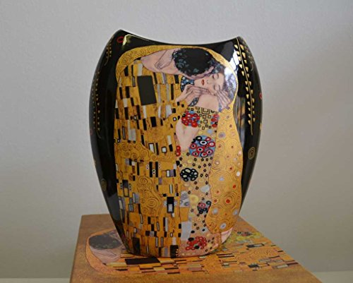 Atelier Harmony Gustav Klimt Vase Motiv Der Kuss Porzellan LE BAISIER (Schwarz/Gold)