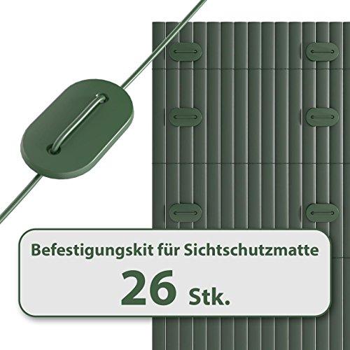Homelux Befestigungskit für Sichtschutzmatte Windschutz Balkonverkleidung Farbe: GRÜN