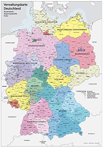 XXL DIN B1 (1000 x 700 mm) Verwaltungskarte Deutschland Bundesländer, Ländergrenzen, Regierungsbezirke, Landkreise Deutschlandkarte Poster (K703)
