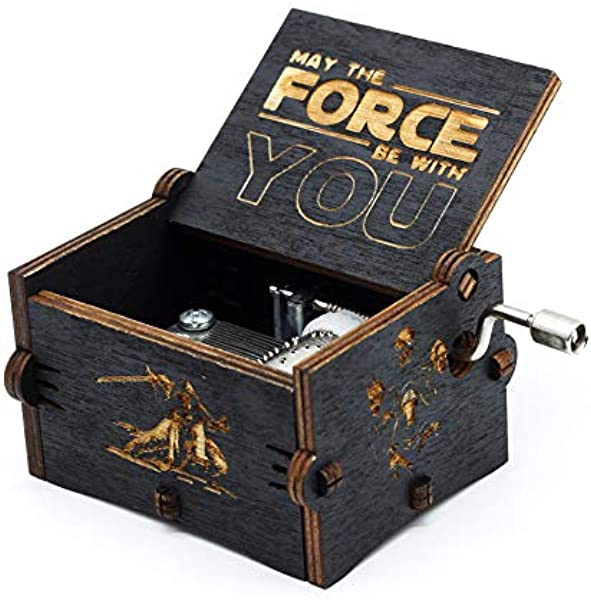 Star Wars Music Box Hand Crank Musical Box Carved Wooden Play Star Wars Theme Song Black