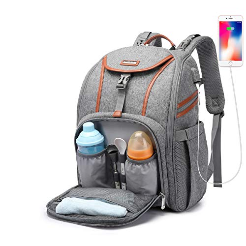 Diaper Bag Backpack, Large Unisex Baby Nappy Changing Bags Multifunction Waterproof Large Travel Back Pack for Mom and Dad