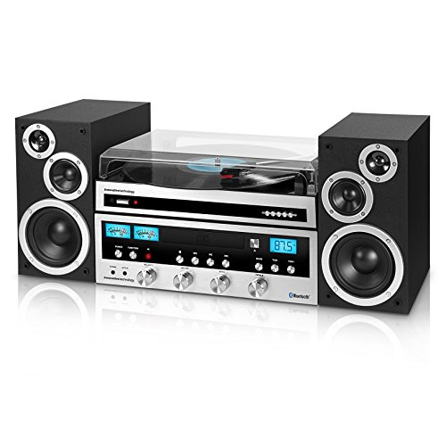 Innovative Technology Classic Retro Bluetooth Stereo System with CD Player, FM Radio, Aux-In, and...