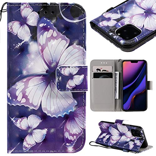 MOLIBAIHUO For IPhone 11 Pro Case, 3D Painted Pattern Horizontal Flip Leather Case for IPhone 11 Pro, With Wallet & Holder & Card Slots & Lanyard PHONE CASE (Pattern : Purple butterfly)