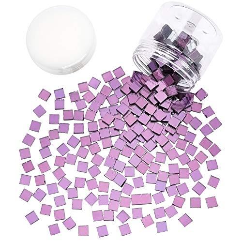 PandaHall Azulejos de Mosaico Cuadrados morados, 230 Piezas de Mosaico a Granel para Manualidades, Mosaico, Piezas de Vidrio, Azulejos para Marcos de Fotos, Platos, macetas, jarrones