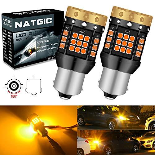 NATGIC 1156 BA15S P21W LED Lampadine per Indicatori di Direzione Ambra 3700LM 3030 45 SMD Canbus Errore Anti - Hyper Flash Gratuito per Indicatori di Direzione a LED Anteriori o Posteriori (Pack-2)