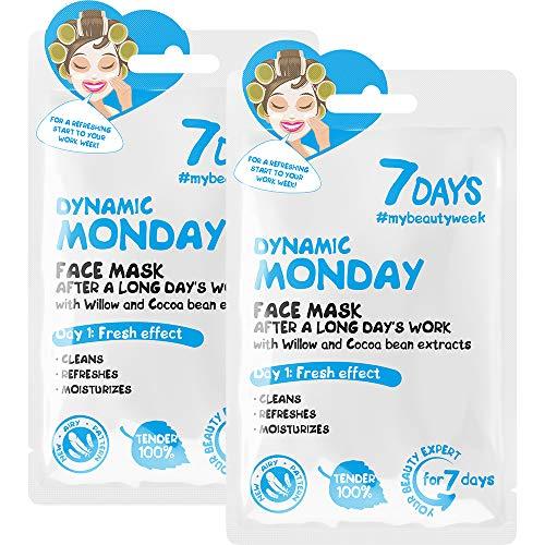 7DAYS Monday Masque Facial Tissu 2 Pièces Routine Quotidienne Anti-acné Pour Tous types de Peaux