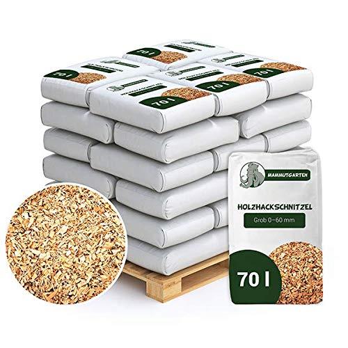 MammutGarten Holzhackschnitzel Natur Kiefer Holz Mulch Garten Grob 0-60mm 70l Sack x 36 STK (2520 L)
