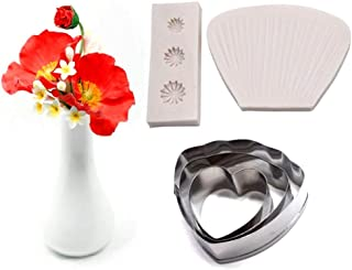 AK ART KITCHENWARE Poppy Veining Molds and Stainless Steel Fondant Cutter Set Silicone Veiner Sugar Paste Making Tools Fondant Cake Decoration A346&VM001