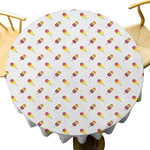 VICWOWONE Mantel de helado – Mantel redondo de 50 pulgadas impreso Colorido Verano Snacks en palillos Azúcaros y refrescante, patrón diagonal fácil de limpiar, multicolor