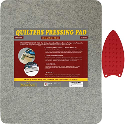 Wool Pressing Pad - 24in x 18in Quilting Ironing Pad - Easy Press Wooly Felted Iron Board for Quilters, Great for Quilting Sewing Projects