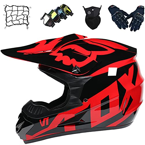 Aidasone Casco de Protección Integral Moto, Casco Motocross Niños Set con Diseño Fox (Gafas/Guantes/Máscaras/Red Bungy), Casco de Cross Adultos para MTB Downhill Dirt Bike MX Quad, Negro Rojo,XL