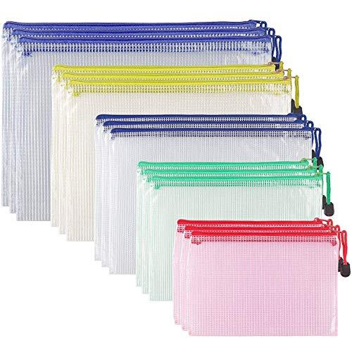 STARVAST 15Pcs Pochette Plastique Transparente, Pochette Fermeture Eclair, 5 Tailles Différentes Documents Dossier en PVC (A4,A5,B4,B5,B6) pour Fournitures Bureaux Voyage, 5 Couleurs Assorties