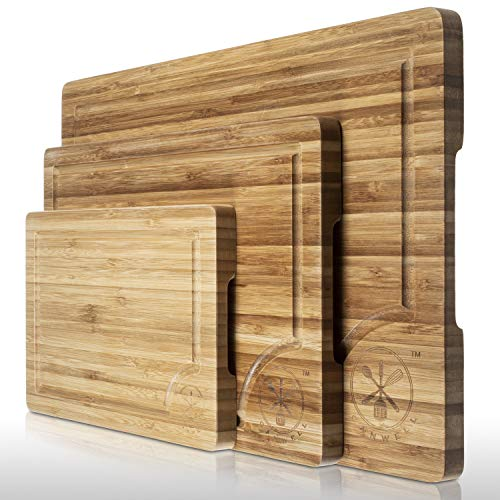 3 Piece Bamboo Cutting Board Set, Serving Vegetables Meat Kitchen Chopping Butcher Block with Deep Juice Grooves