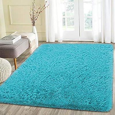 Beglad 4 ft x 5.3 ft Soft Fluffy Area Rug Modern Shaggy Bedroom Rugs for Kids Room Extra Comfy Nursery Rug Floor Carpets Boys Girls Fuzzy Shag Fur Home Decor Rug, Teal Blue