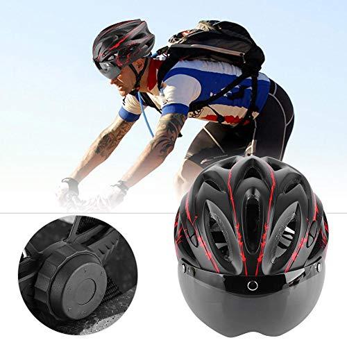 Liukouu Bike Helmet for Adult Man Woman, Lightweight Design Mountain Road Bike Safety Helmet with Goggles, Bike Accessory Supply(Red)
