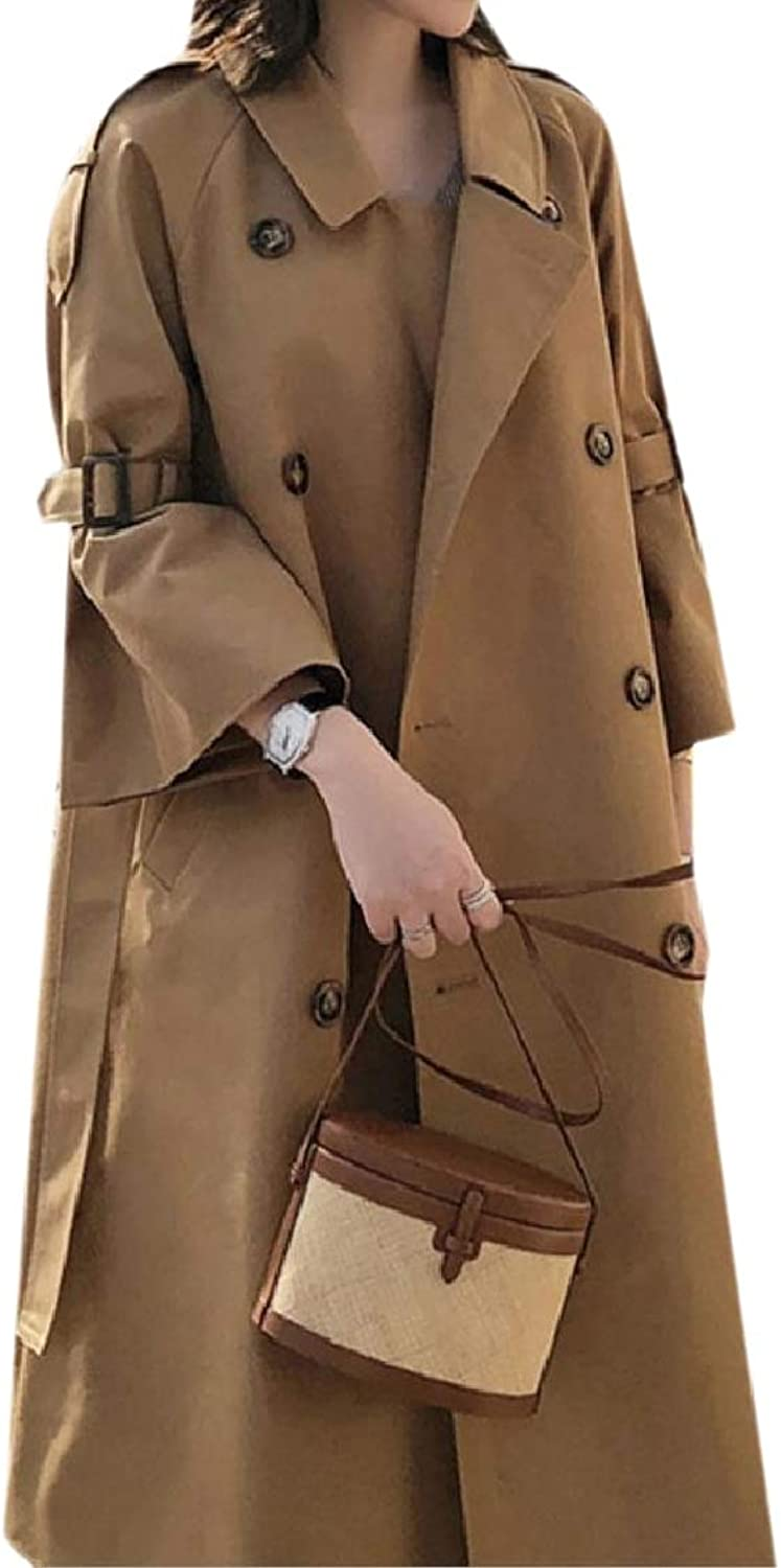 Coolhere Women Relaxed FoldCollar Parka Outwear Button Trench Coat Jacket