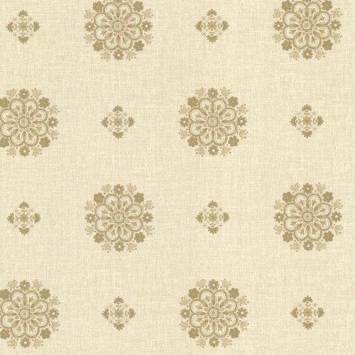 BHF 302-66828 - Carta da parati vintage, medaglioni floreali, colore: oro