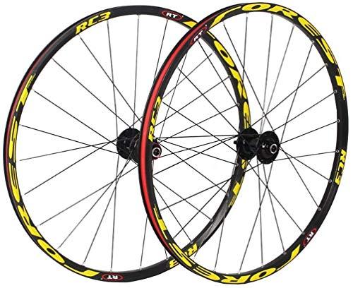 YZU Rueda de bicicleta de 26 de 27,5 pulgadas de doble pared de aleación de bicicleta MTB rueda delantera 2 trasera 5 Palin freno de disco de liberación rápida 7 8 9 10 velocidades 32H, F 26 pulgadas