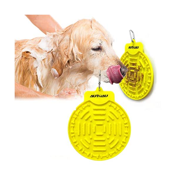 Autoau Dog Bath Lick Mat Powerful Suctions to Wall Dog Bathing Distraction Device Dog Slow Feeder Tray for Easy and Fun Shower Pet Bathing Grooming Training Dog Licking Pad (Yellow)