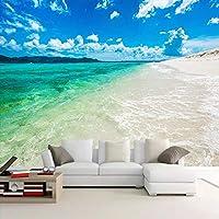 AMTTGOYY 壁画青い空白い雲海水ビーチ風景壁画モダンなベッドルームリビングルームソファテレビ背景壁紙-300x210cm
