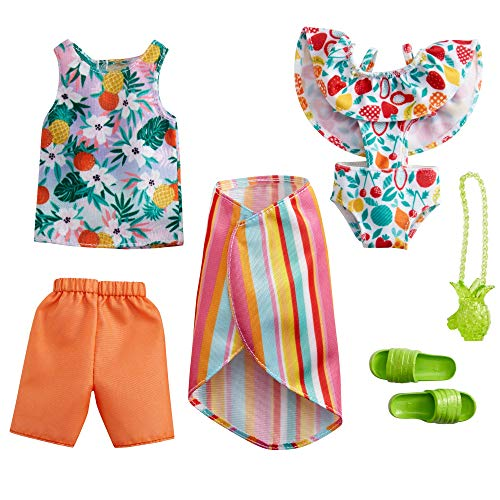 CDU Barbie y Ken Pack 2 Looks de Moda Tropical: Camiseta, Shorts,...
