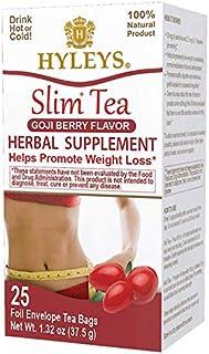 6 Pack Of Hyleys Slim Tea Goji Berry - 25 Tea Bags (100% Natural, Sugar Free, Gluten Free & Non Gmo), 150 Count