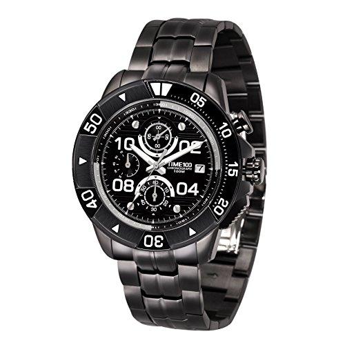 Time100 Orologio Uomo Sportivo con Ttre Quadranti Acciaio Cronografo al Quarzo Multifunzionale#W70105G.02A